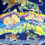 Cows Jumping Over The Moon   Batik by Carol Law Conklin