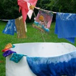 tub and clothes line with new batik