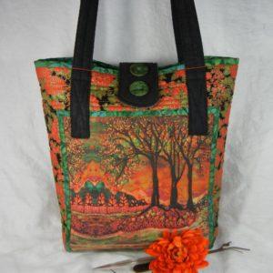 My River Sunrise batik on a purse by Jeanne's Bags
