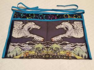 """My batik fabric """"Pegasus"""" on an apron by Pat Davis"""