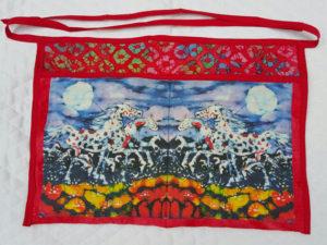 "My batik fabric ""Appaloosas in Summer Moon"" on an apron by Pat Davis"