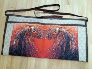 "My batik fabric ""Autumn Sundance"" on an apron by Pat Davis"