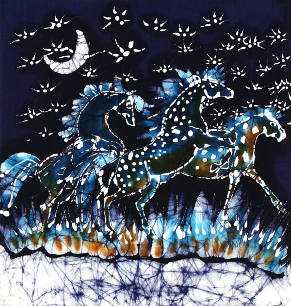 Horses Frolic Below A Starry Night