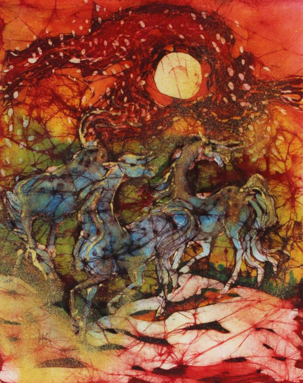 Horses Frolic on a Fiery Night