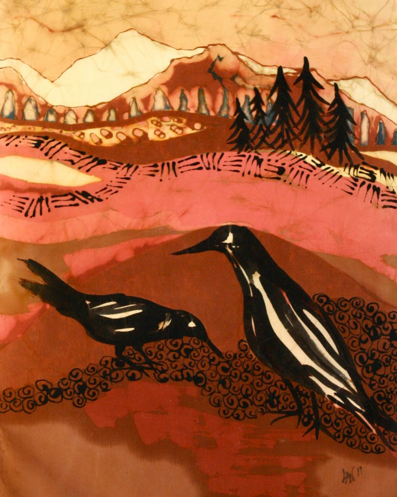 Artwork of two crows