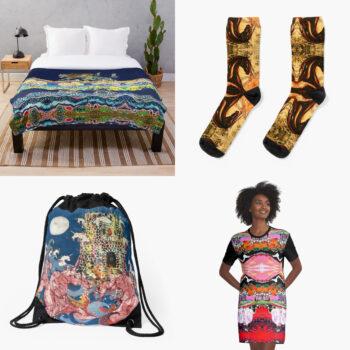 duvet cover, socks, drawstring bag and t-shirt dress